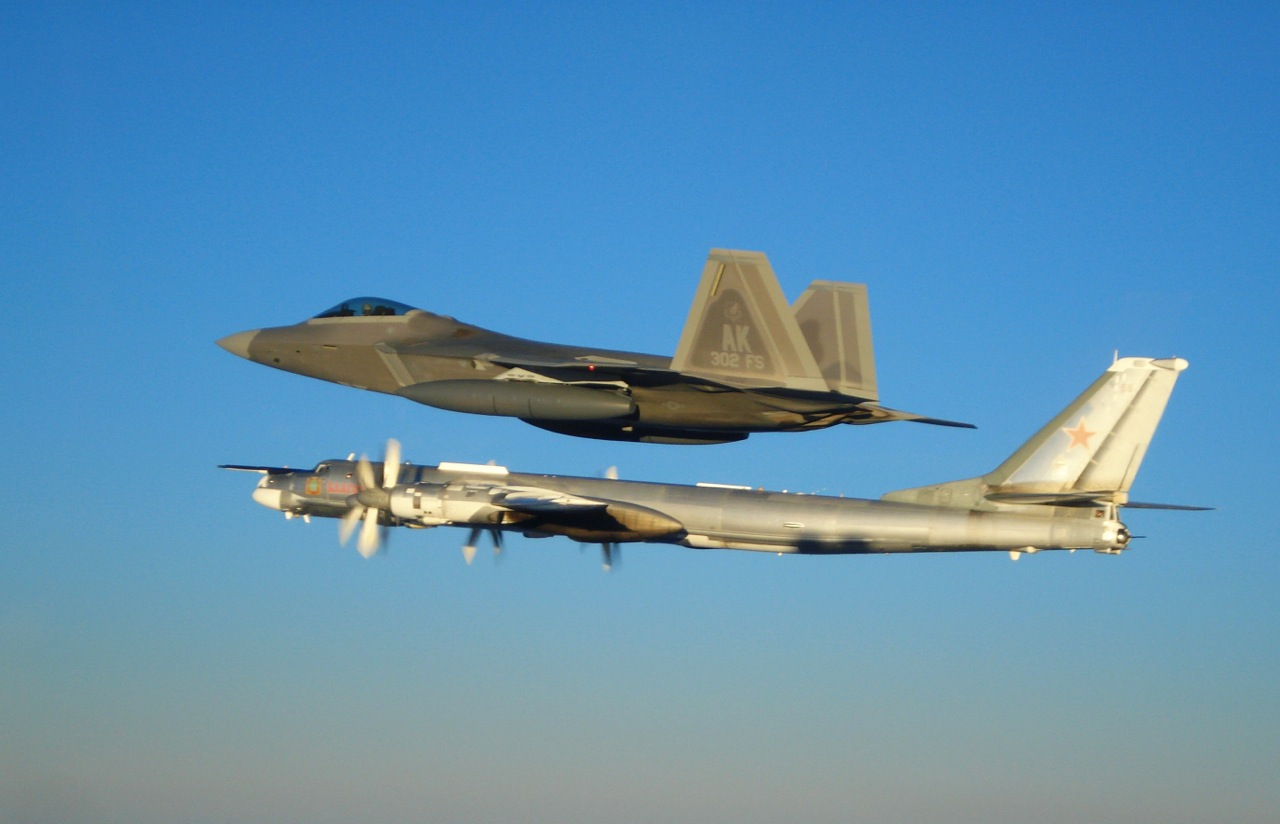 "Two F-22 Raptors from 11th Air Force, 3rd Wing, based at Elmendorf Air Force Base, Alaska intercepted a pair of Russian Tu-95MS strategic bombers on November 22, 2007.  Both ""Bears"" belong to the 326th Heavy Bomber Air Division and are operated from Ukrainka air base.  The intercept was a first for the Raptor. (US Air Force photo)"
