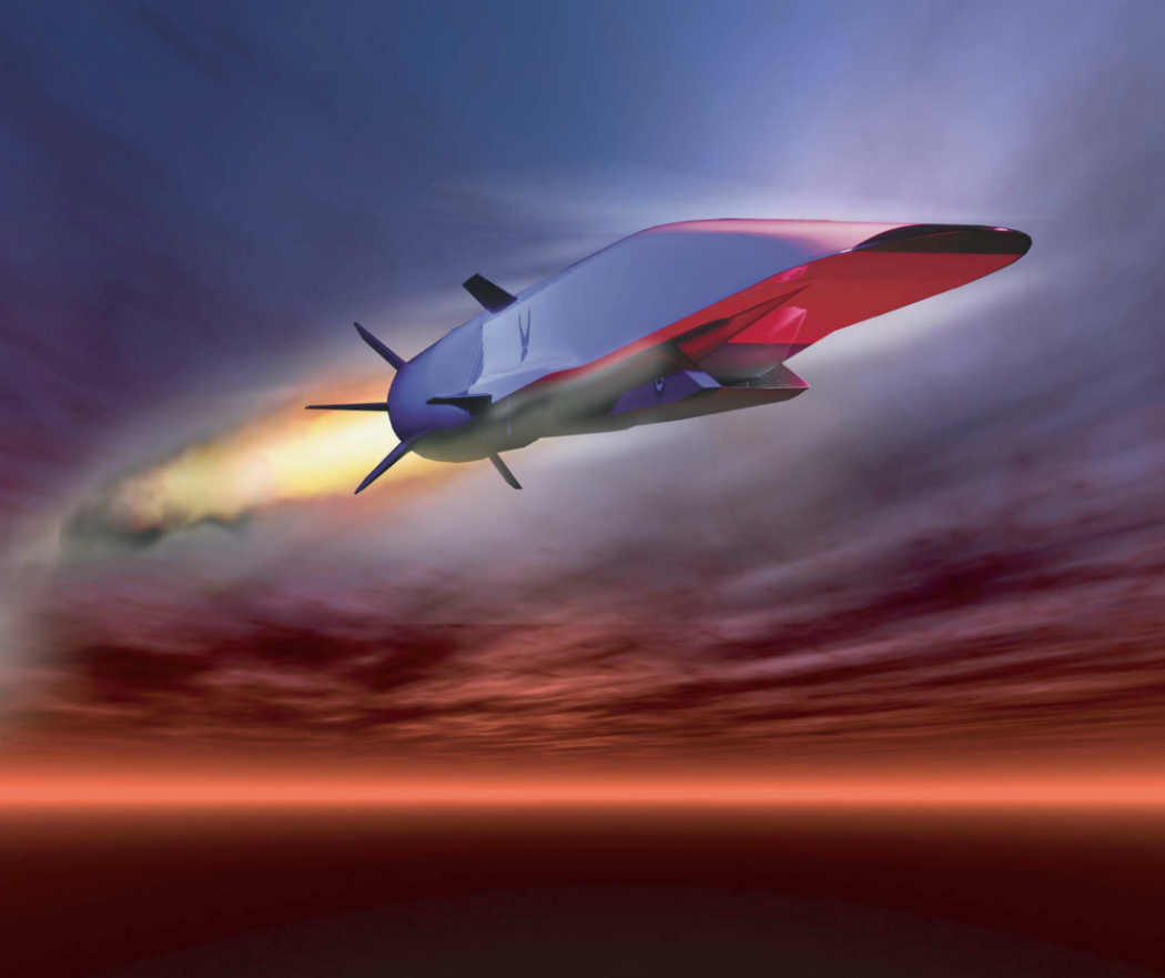 The X-51A Waverider is set to demonstrate hypersonic flight.  Powered by a Pratt Whitney Rocketdyne SJY61 scramjet engine, it is designed to ride on its own shockwavem and accelerate to about Mach 6.  (U.S. Air Force graphic)